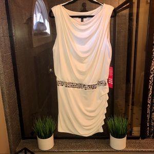 City triangles white with rhinestone waist dress